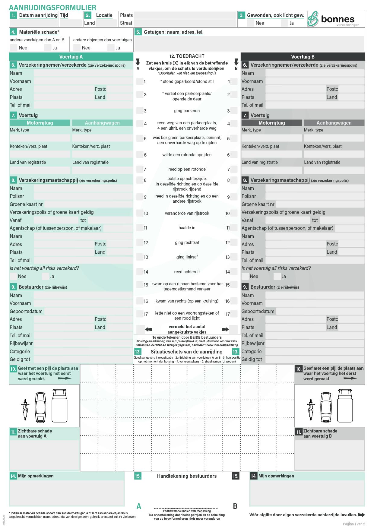 Schadeformulier motorrijtuigen / aanrijdingsformulier