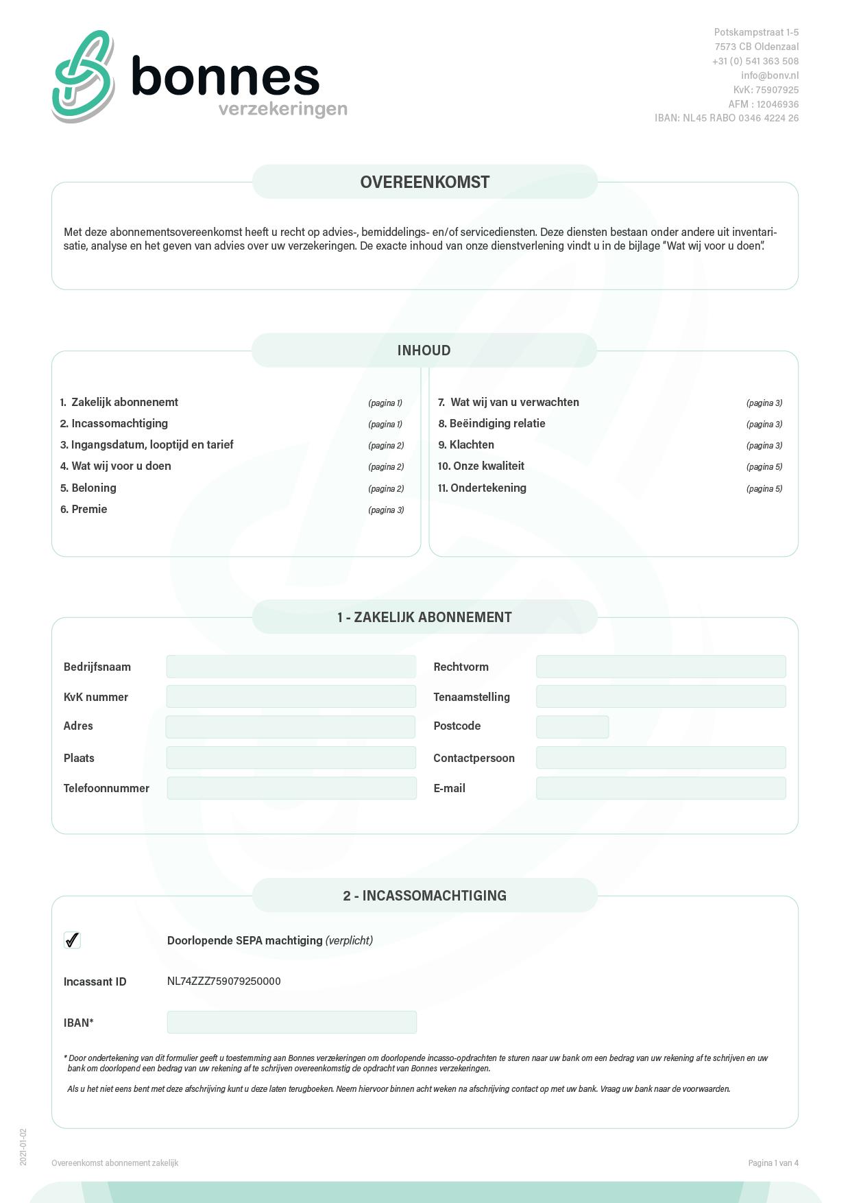 Overeenkomst serviceabonnement zakelijke verzekeringen