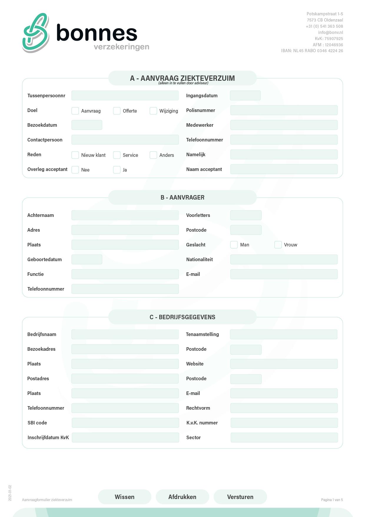 Aanvraagformulier ziekteverzuimverzekering